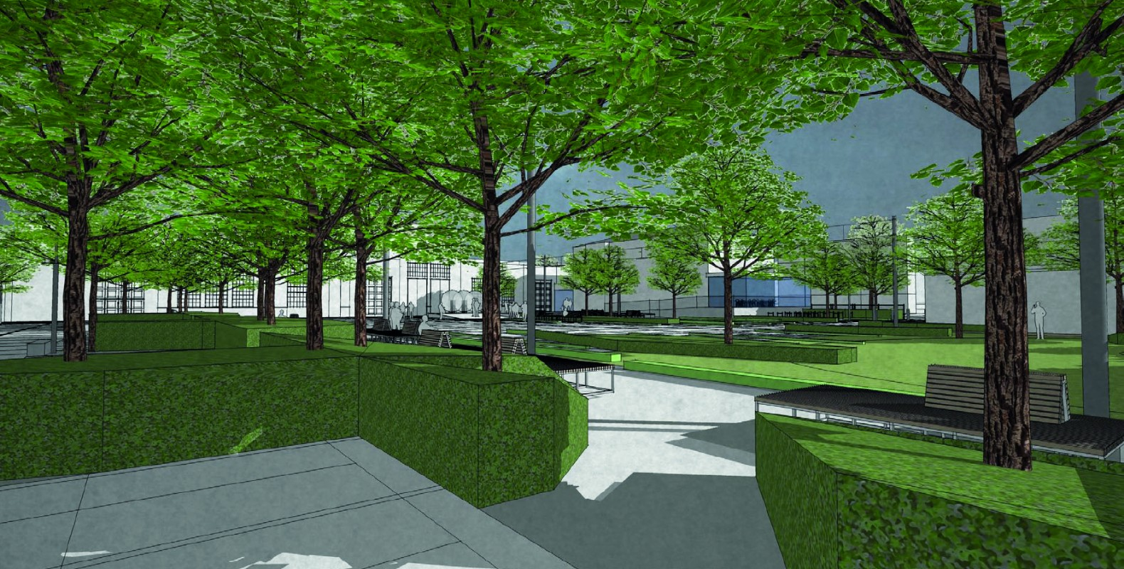 Projekt krajobrazowy przestrzeni zewnętrznych MCK Nowy Teatr